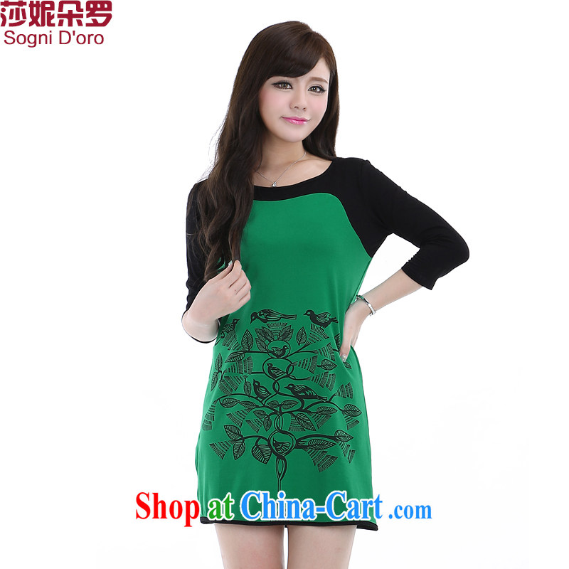 Laurie, flower 2014 thick sister and indeed XL women mm thick summer stamp graphics thin dresses 6271 green 4 XL