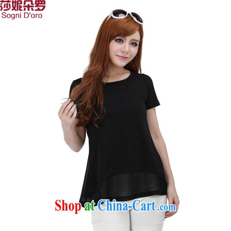 Laurie flower, XL women 200 Jack mm thick summer 2015 snow woven stitching loose short-sleeve girls T-shirt T-shirt 4620 black 6 XL
