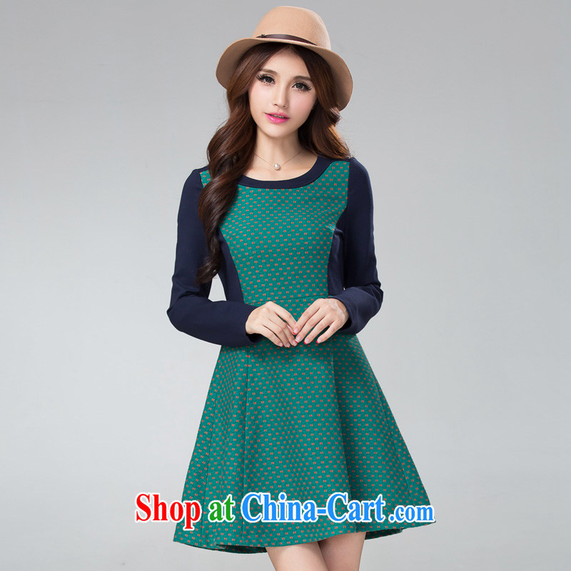 cheer for thick MM autumn and winter, the larger female small flowers thick sister graphics thin long-sleeved knitted dresses of the 2302 green 5 XL