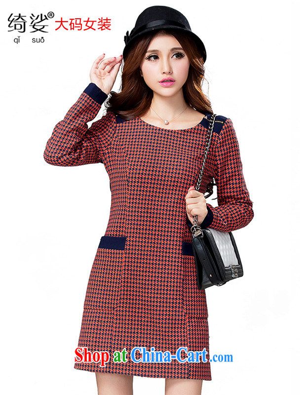 Cross-sectoral expertise provided MM autumn and winter New Code women 1000 birds, thick sister graphics thin long-sleeved wool that the dress of the 2301 orange 5 XL