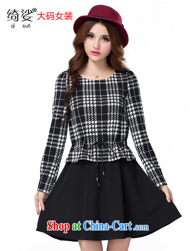 Cross-sectoral expertise provided MM autumn and winter, the larger female black-and-white, thick sister graphics thin false 2 long-sleeved dresses Item No. 2300 black 2 XL