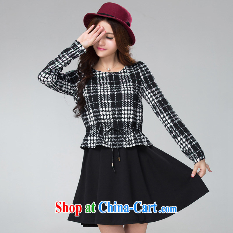 Cross-sectoral expertise provided MM autumn and winter, the larger female black-and-white, thick sister graphics thin false 2 long-sleeved dresses Item No. 2300 black 2 XL, cross-sectoral provision (qisuo), shopping on the Internet