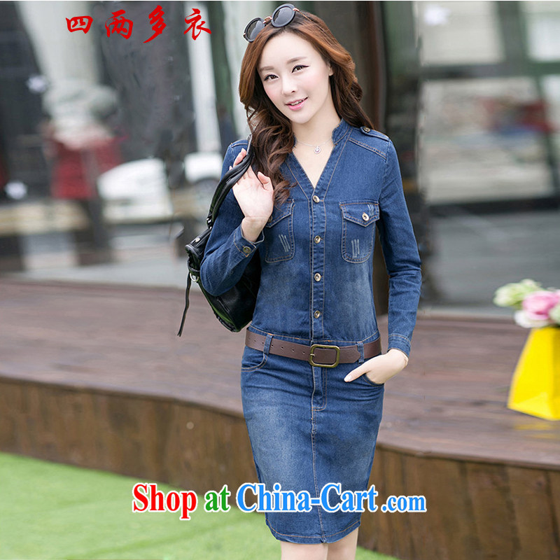 42 multi-yi 2015 female long-sleeved BEAUTY package and graphics thin V-neck style denim dress 1048 deep blue the lap S code