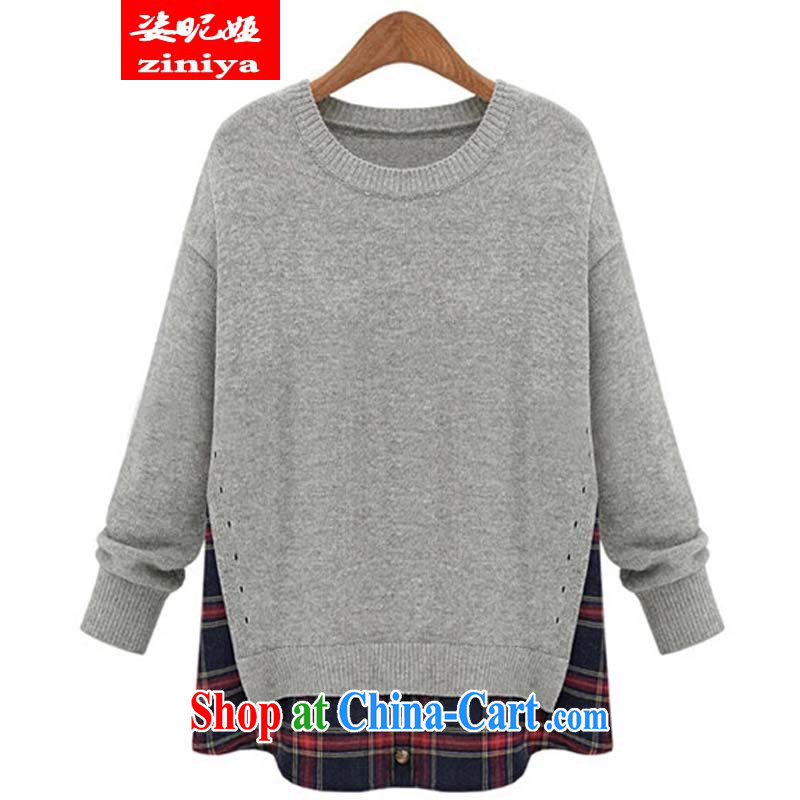 Colorful nickname Julia and indeed increase, female new Korean autumn with thick, graphics thin leisure loose Solid Color collision stitching leave of two long-sleeved T-shirt light gray 5 XL