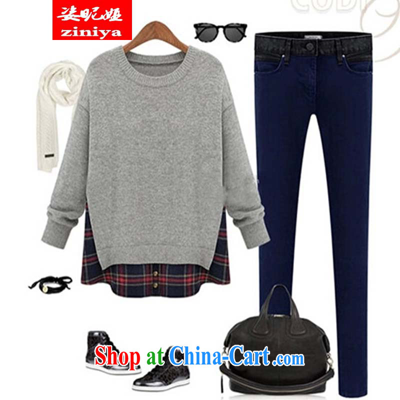 Colorful nickname Julia and indeed increase, female new Korean autumn with thick, graphics thin leisure loose Solid Color collision stitching leave of two long-sleeved T-shirt light gray 5 XL, colorful nicknames, and shopping on the Internet