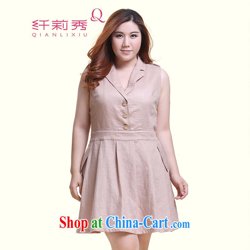 Slim Li Su-new, larger ladies sleeveless jacket lapel handsome A swing dresses Q 6218 card with 4 XL