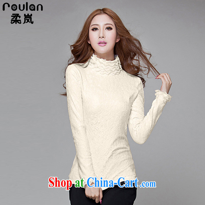 ROULAN_Sophie sponsors the lint-free cloth thicken spring 2015, new Korean XL female lace warm high-collar solid T pension women 4183 apricot XXXL
