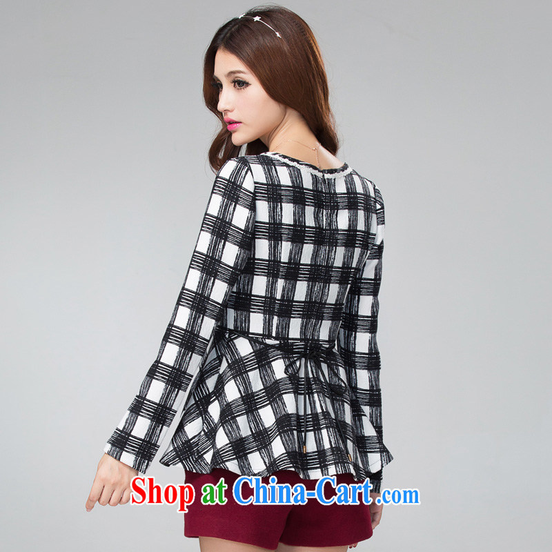 cheer for thick MM fall and winter new larger female American classic checkered thick sister graphics thin long-sleeved shirt T number 2298 black 5 XL
