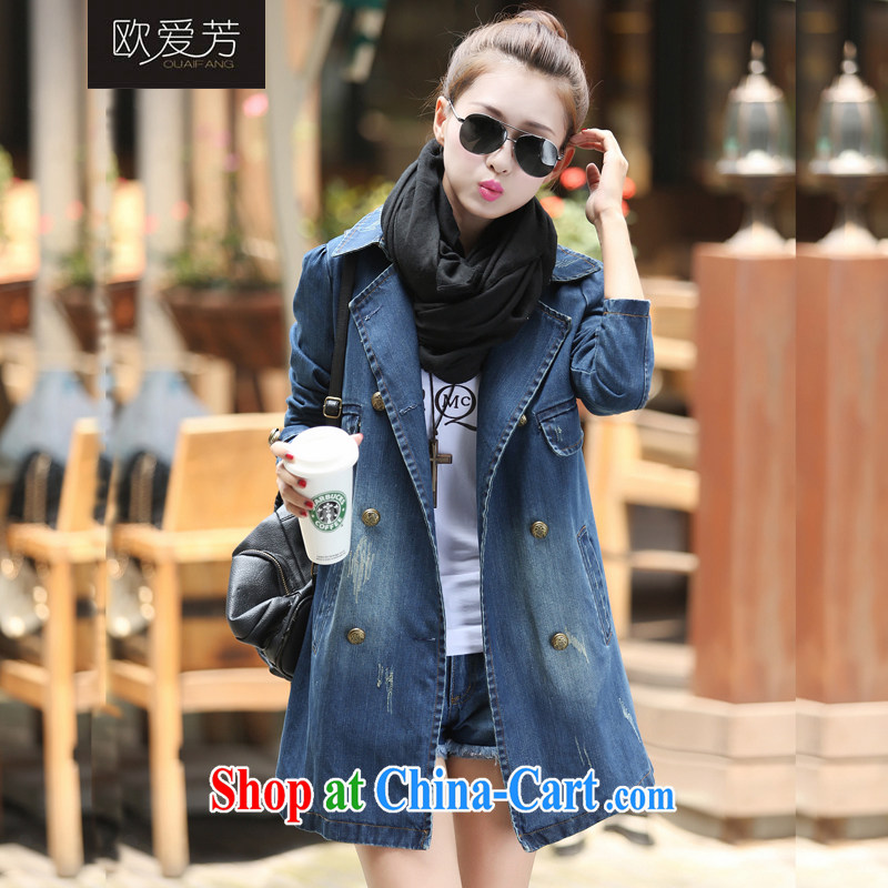 The Oi-fong 2015 new Korean long leisure double-cowboy wind jacket women picture color XXXL