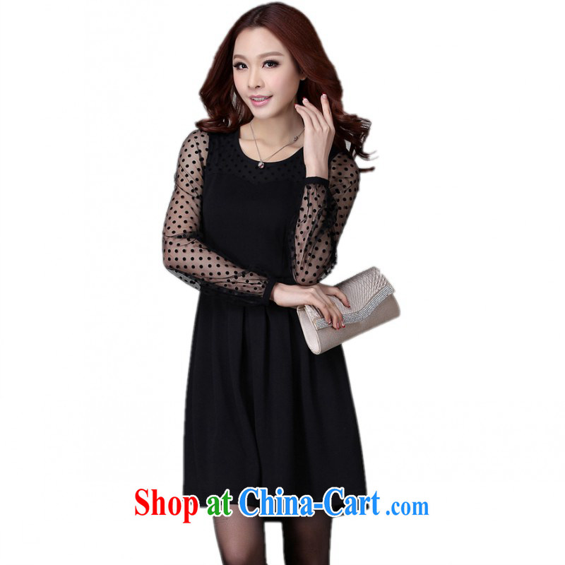 The delivery package as soon as possible e-mail is indeed the XL female dresses Korean OL commuting professional wave-stitching long-sleeved knitted solid skirt Lady Black black 4 XL approximately 185 - 200 jack