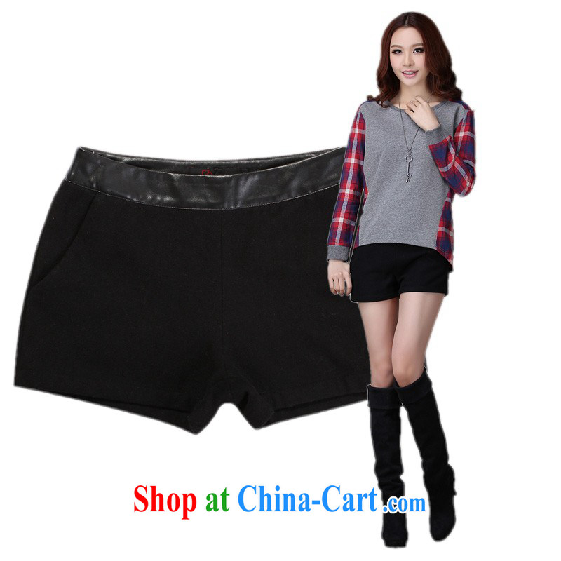 The delivery package as soon as possible e-mail is indeed the XL female shorts 2014 autumn and winter with new black ground 100 wool? boots pants thick hot pants pants solid black 3 XL waist 2 feet 7