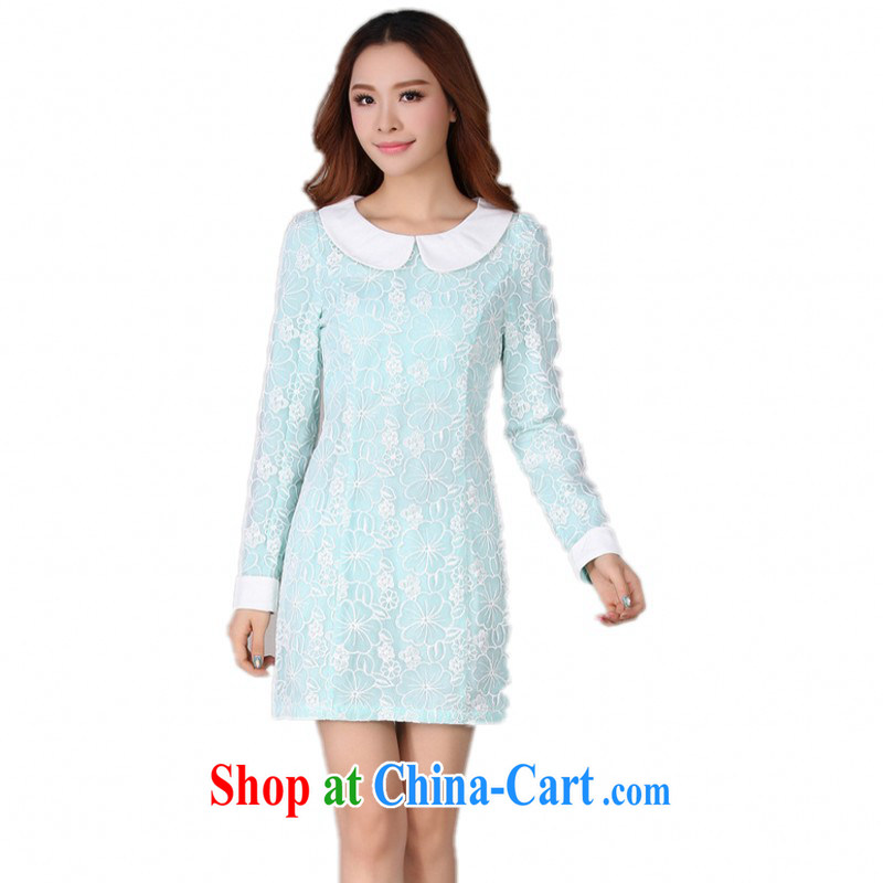 The delivery package as soon as possible by the fertilizer XL dresses 2014 new autumn and the Korean version and elegant OL temperament doll collar lace beauty day blue XL approximately 120 - 130 jack