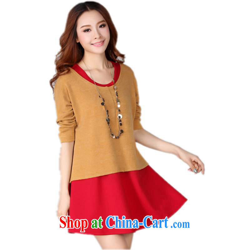 The delivery package as soon as possible e-mail is indeed the XL ladies dress fall 2014 winter clothing new two-piece red vest solid knit dress long red and yellow 4 XL approximately 165 - 175 jack