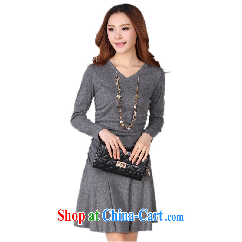 The delivery package as soon as possible by the fertilizer XL women dress 2014 autumn and winter new minimalist V collar stretch long-sleeved thin waist skirts knitted gray XXL approximately 140 - 160 jack