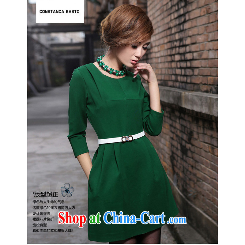 C . B .2,014 autumn and winter clothes new Korean version beauty loose video thin thick MM the code and indeed increase body long cotton skirt dresses 1309 green XXXL