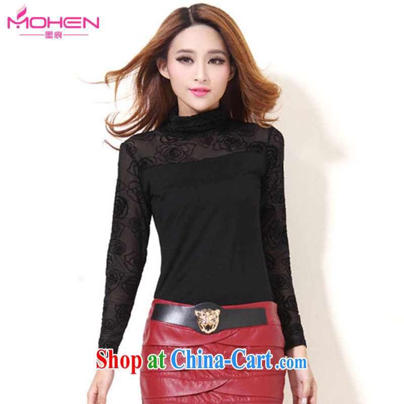 The ink marks spring 2015 new, larger female Korean version and stylish high-collar cultivating ground 100 ol-solid T-shirt simple long-sleeved thick mmt-shirt T-shirt 1855 flocking take black thin 4 XL _145 - 155 _ jack