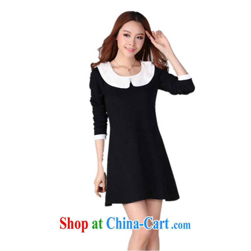 The delivery package as soon as possible by the fat increase, female dresses Korean OL career black short skirt hit color lapel long-sleeved beauty autumn skirt with thick black M 4 XL approximately 155 - 165 jack