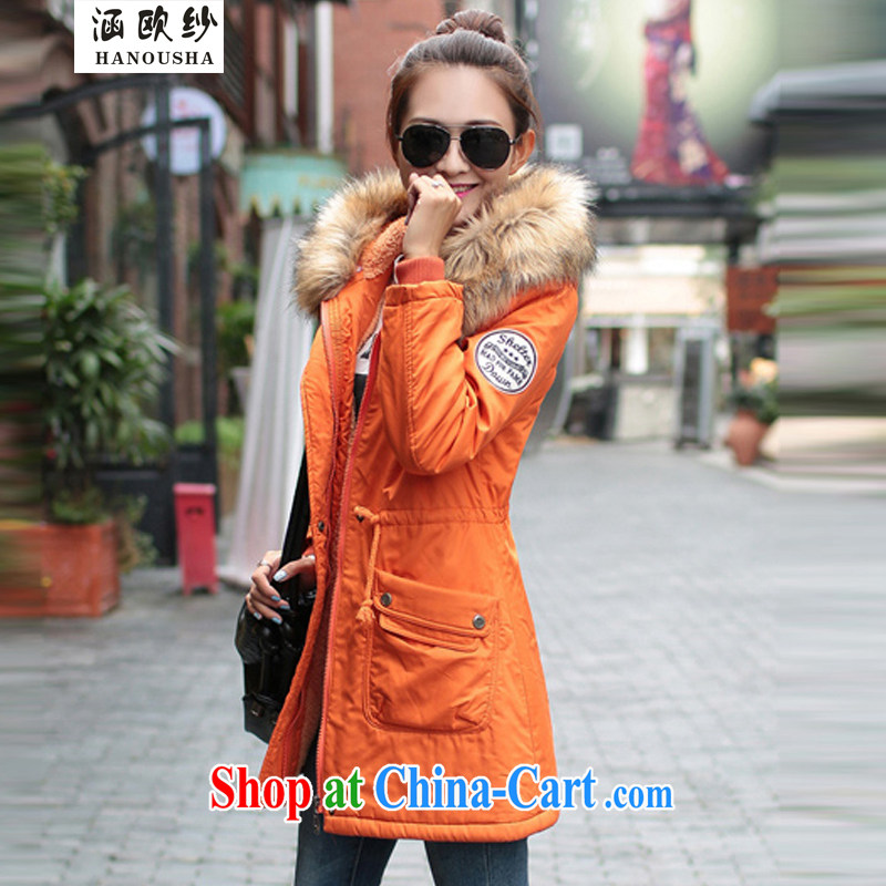 Covering the yarn students women quilted coat, long, thick cultivating larger winter jackets camouflage cotton suit Female Korean version the lint-free cloth winter cotton suit orange XXXL