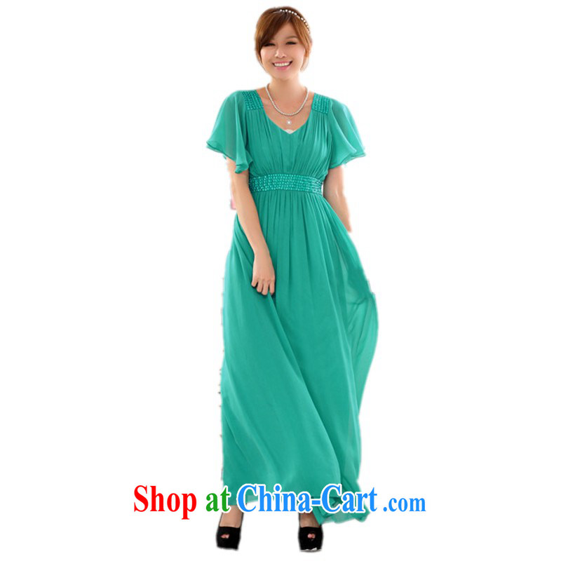 Constitution, colorful package mail female dresses new European style lady snow woven skirts Yoo staples high waist short short-sleeve XL small dress graphics thin green 3 XL 160 - 180 Jack left and right