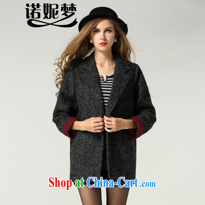 Connie's dream 2014 new autumn and winter in Europe and America with high-end XL girls in short about gross waist jacket? Pure color style stylish suits for coat s 1215 gray XXXXXL