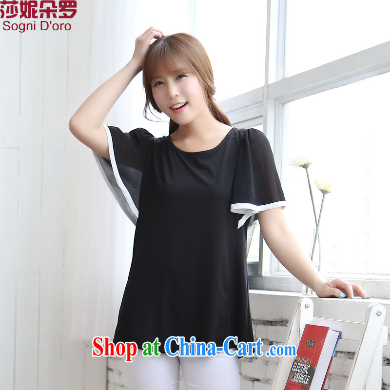 Laurie flowers, thick sister XL girls thick mm summer 2015 new Snow woven bat sleeves loose video thin T-shirt women 6719 black 5 XL