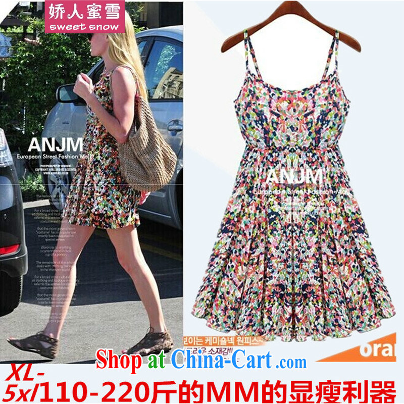 Aviation, honey thick snow in mm long sleeveless beach dress summer the code loose straps dress bohemian floral skirt picture color 4 XL