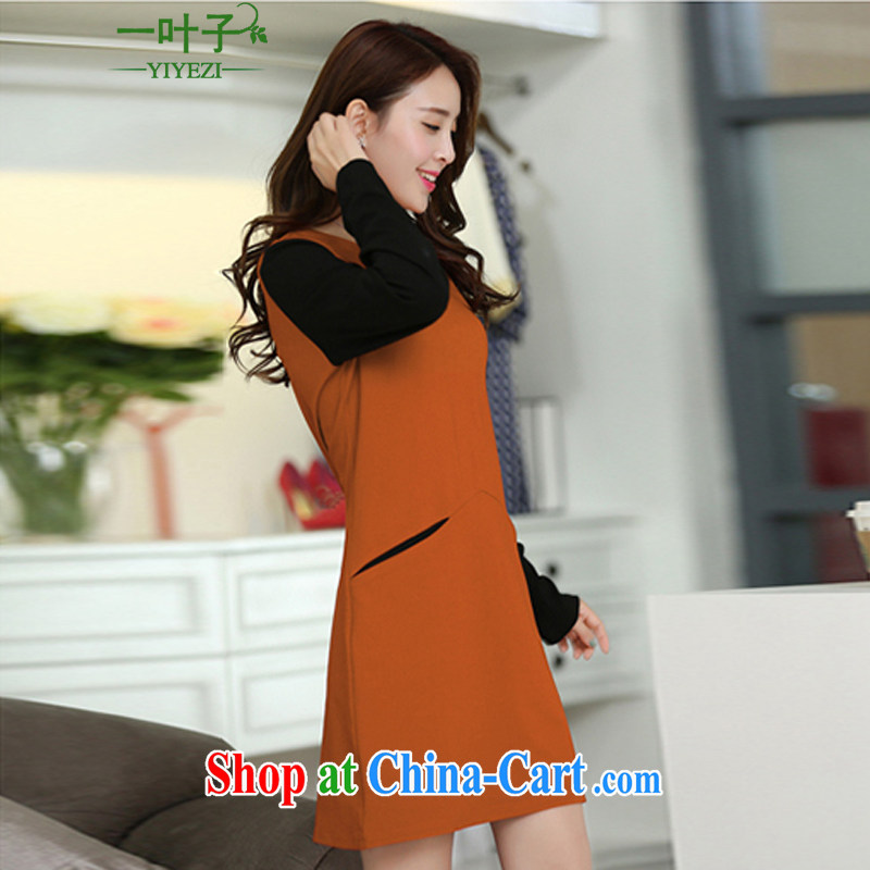 A leaf 2014 autumn and winter new and indeed increase Korean Beauty large code dress orange XXXXXL