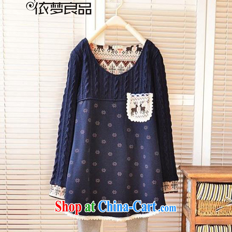 According to his conscience, 2015 spring New Sum female snow deer loose the code stitching, Yi T pension female DD 91 dark blue XXXXL