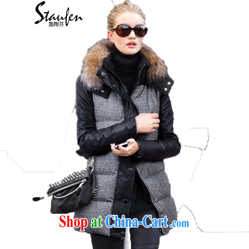Shi Tao, in Europe and America 2014 winter clothing spell leather cap thick 1000 bird, for gross cotton suit 8016 photo color 4 XL recommendations 170 - 190 jack