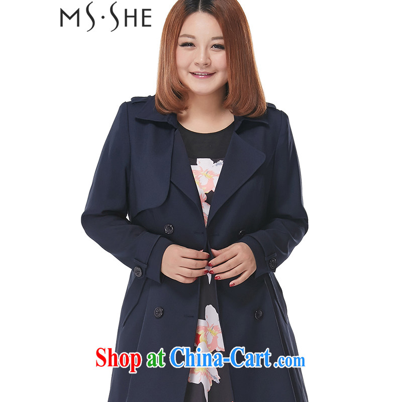 MsShe XL ladies' 2015 spring new single snap-in cultivating long wind jacket clearance 7622 blue black 6 XL
