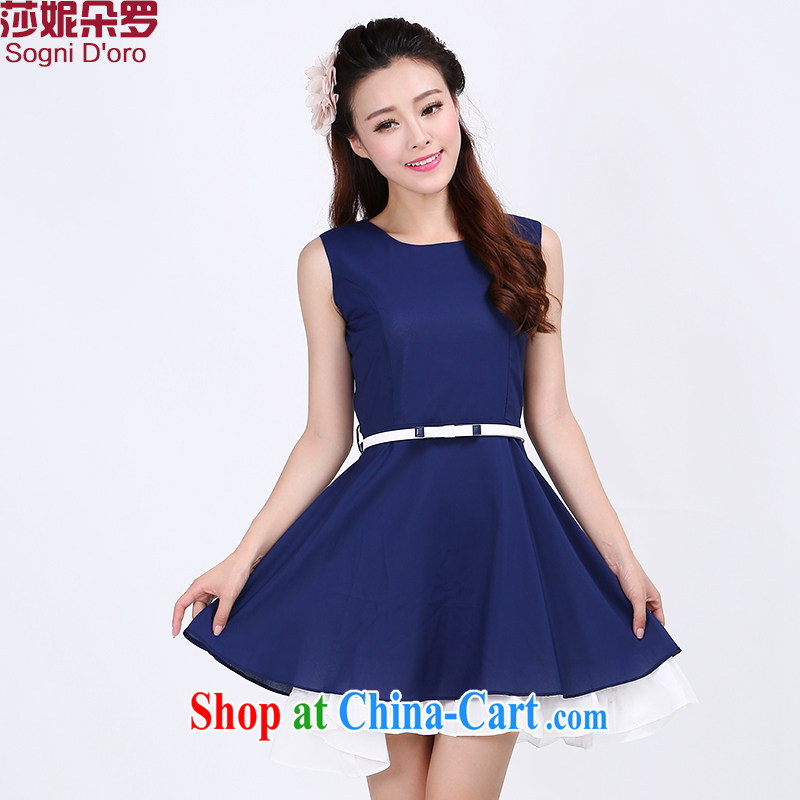 Laurie flower 2014, New, and indeed increase, female fat mm summer a field for snow beauty woven dresses 6765 dark blue 3XL