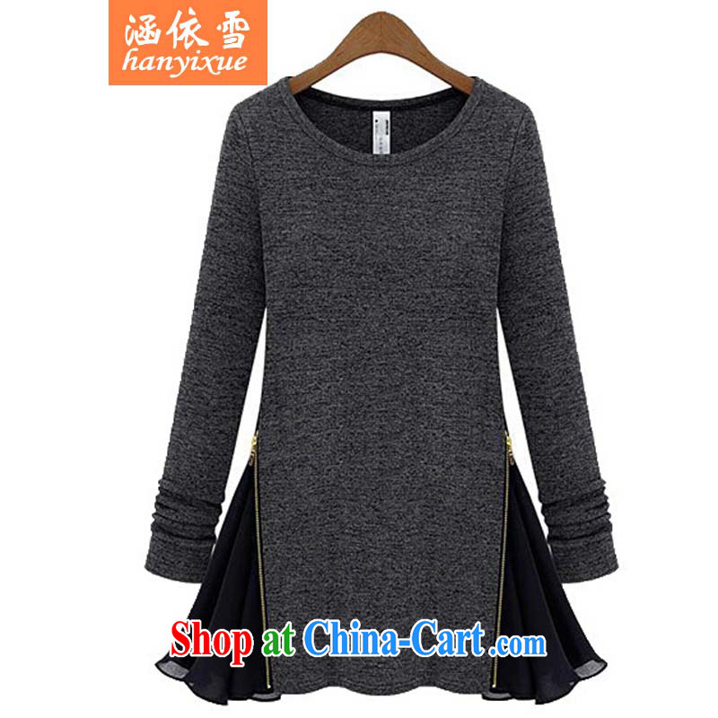 covered by snow in accordance with the Code women load fall 2015 Korea and indeed increase, female fat people graphics thin, long-sleeved shirt T solid T-shirt dark gray 5 XL