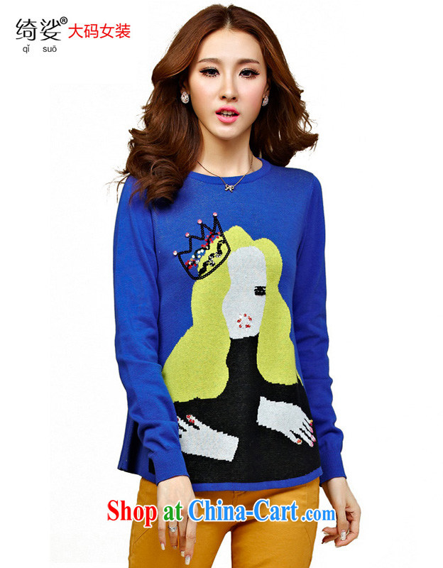 cheer for winter new products, women mm thick Korean card loose video thin XL sweater T pension number 2322 blue 2 XL