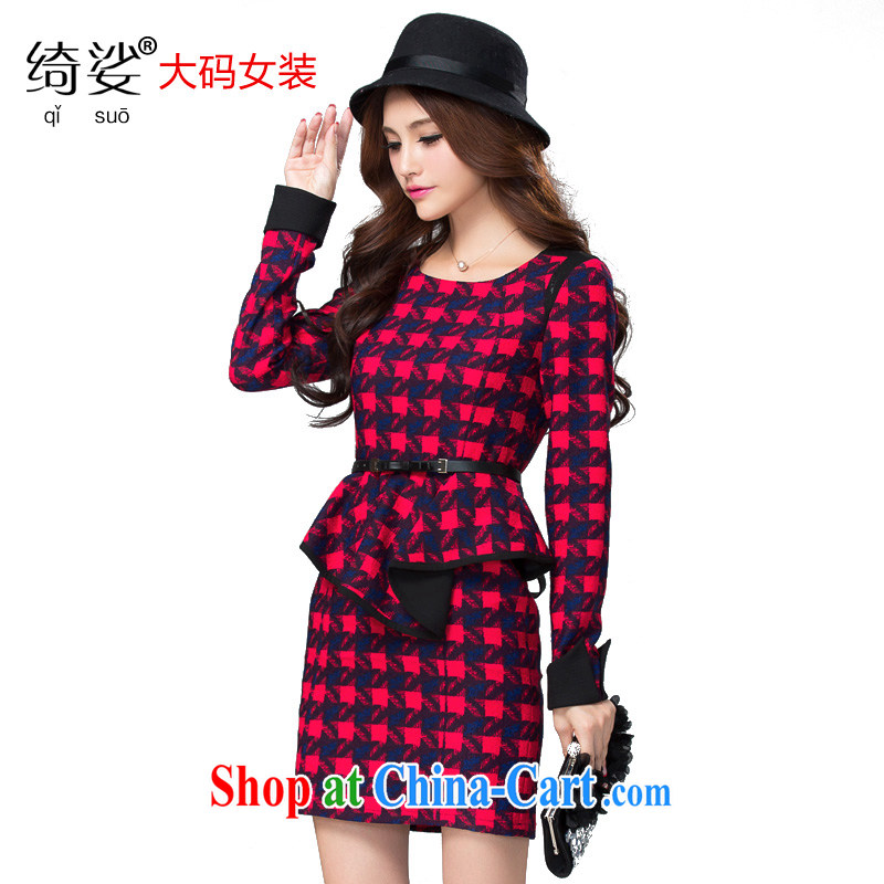 cheer for autumn and winter, the Code women mm thick larger dresses classic tartan video thin large female the number 2306 red 2 XL