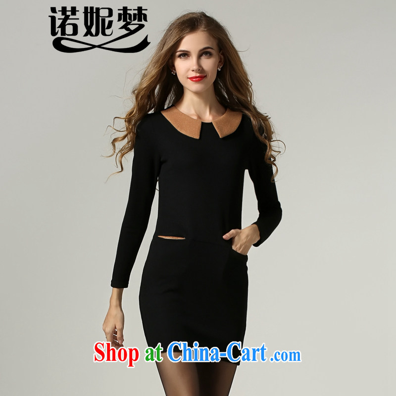 Connie's dream European and American high-end large Code women 2014 new autumn the doll for cultivating dresses simple and stylish solid-colored long-sleeved style further than 1003 s black XXXXXL