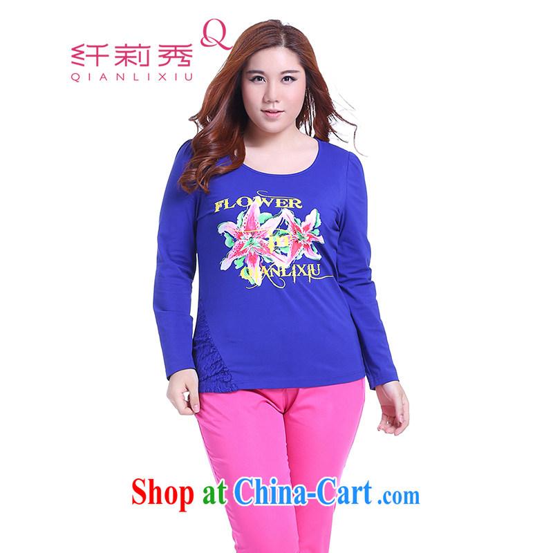 Slim Li-su 2014 autumn new, larger female bubble cuff trend personalized stamp lace stitching knitted shirts Q 5373 blue 2 XL