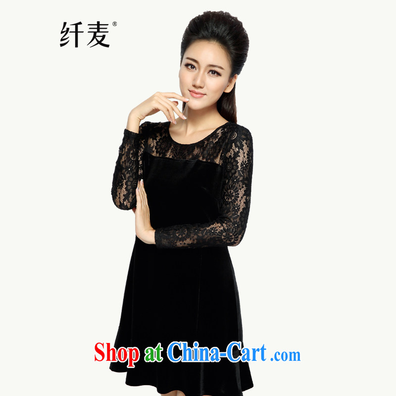 The Mak is the female 2014 winter clothing new mm thick Korean lace Openwork graphics thin dress 944101652 black 6 XL