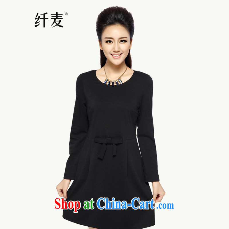 The Mak is the women's clothing 2014 winter clothing new thick mm stylish and simple graphics thin long-sleeved dress 944101639 black 5 XL