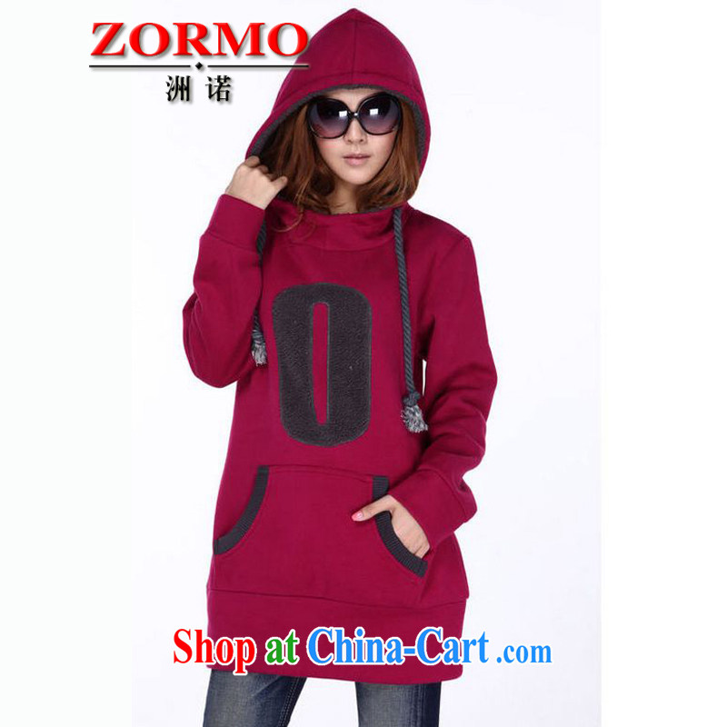 ZORMO winter 2014 new letters O the lint-free cloth in thick long King code sweater thick mm sport and leisure T-shirt burgundy XXXXL 180 - 200 jack