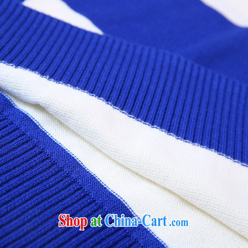 Slim LI Sau 2014 autumn and winter new, larger female streaks collision video thin 100 ground and long-sleeved knit shirts Q 5811 blue and white stripes 3 XL