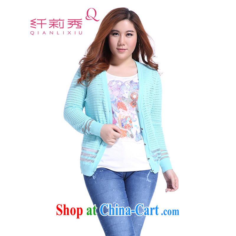 Slim LI Sau 2014 autumn new larger female thick mm Openwork cultivating long-sleeved sweater knit cardigan sweater Q 5820 powder blue XL