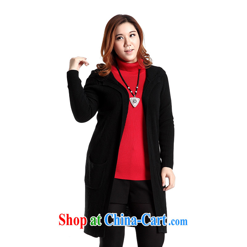 Slim LI Sau 2014 autumn and winter new, larger female double-cap Leisure Long Hair cardigan knitted T-shirt jacket Q 6155 black 2 XL
