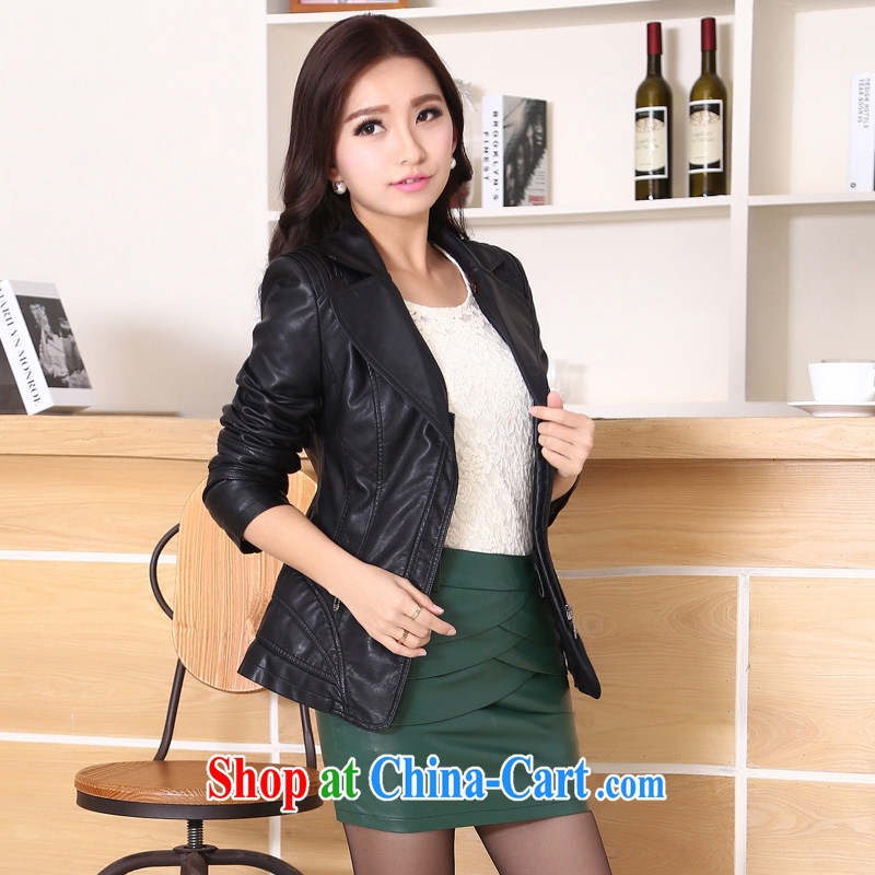 2015 new leather jacket girl short, cultivating leather jacket large, female and indeed intensify PU leather jacket Korean style small jacket black 6 XL