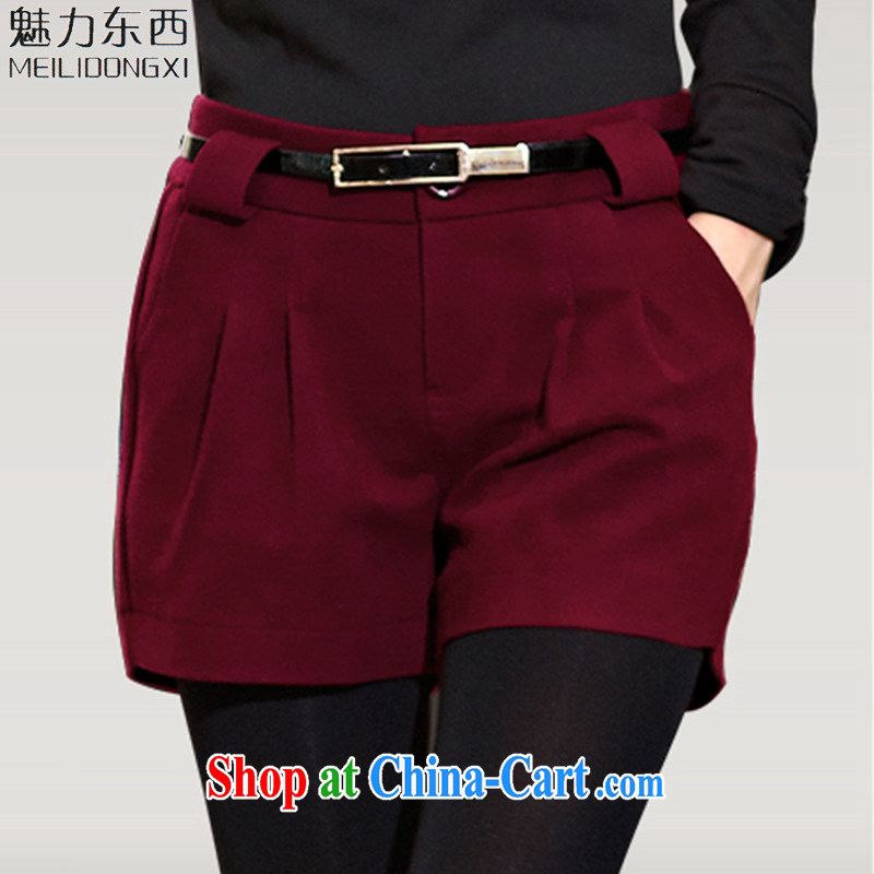 What charm summer 2015 new, larger female thick shorts leisure waist boots pants girls pants 5 XL T 1139 wine red XXXXXL