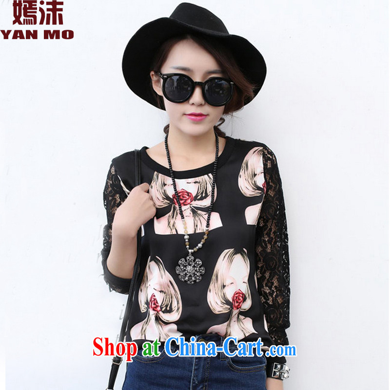 He droplets spring 2015 new Snow woven lace stitching T-shirt girl Y 5114 black XL