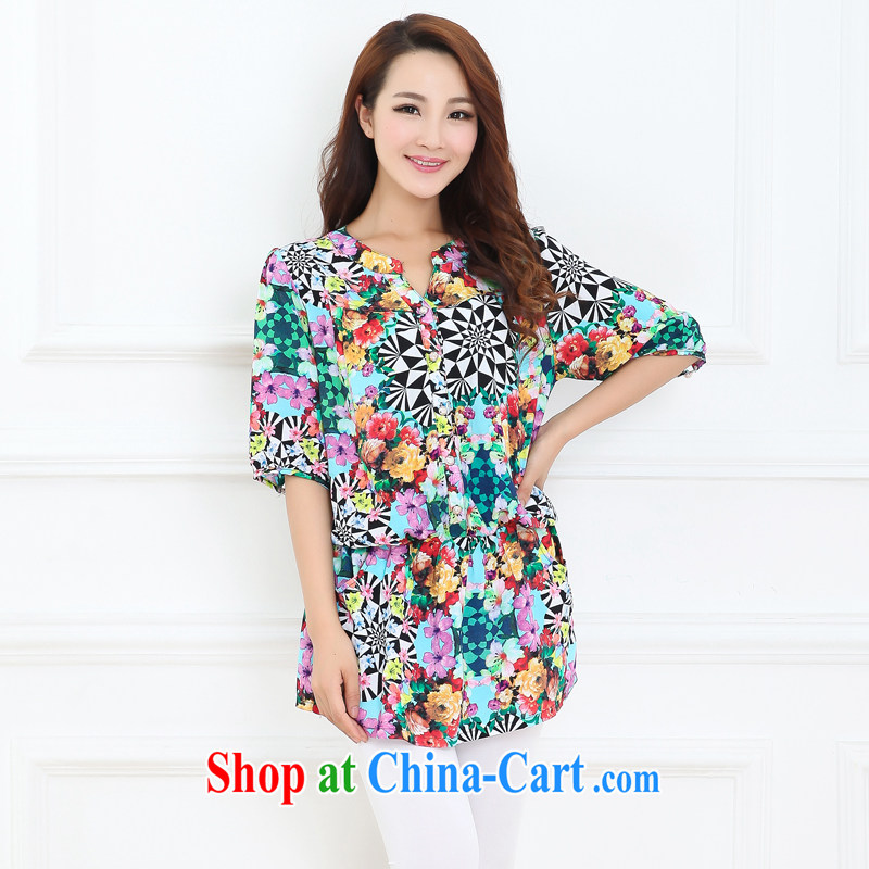 Increase the emphasis on MM summer 2015 and indeed increase, female loose video slim, cuff floral girls shirt suit 3 XL
