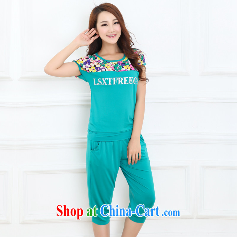 Increase the emphasis on MM summer 2015 and indeed increase, female fat sister short-sleeve 7 graphics thin Sport Kits Lake blue 4XL