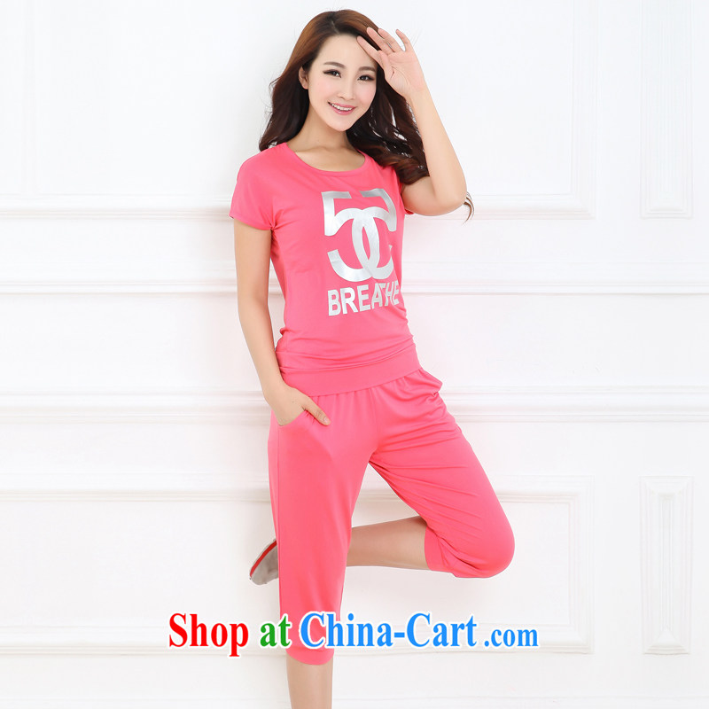 Increase the thick mm summer 2015 larger female thick sister graphics thin short-sleeve 7 sport and leisure package of red 3 XL