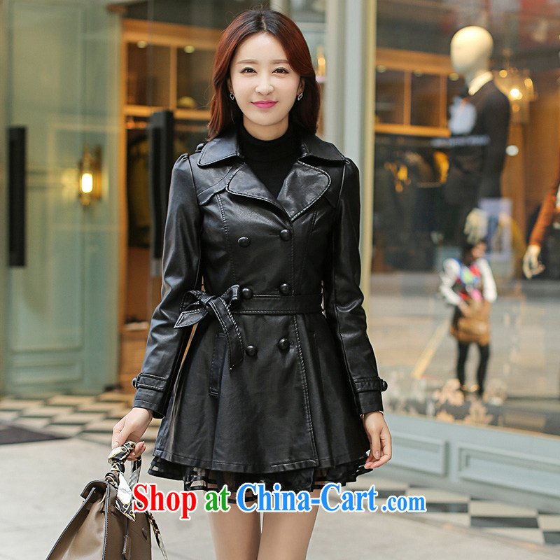 Spring 2015 new jacket, Korean fashion, leather jacket women, female, long, cultivating PU leather windbreaker lace black 6 XL