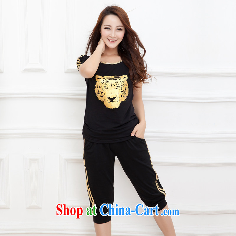 Increase the emphasis on MM summer 2015 new, larger female thick sister sport and leisure package short-sleeved 7 pants tiger head of black gold 5 XL